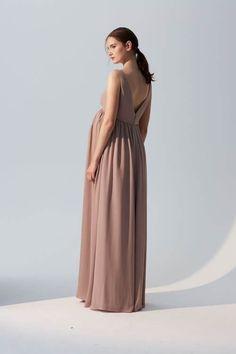 Fletcher - V-neck maternity bridesmaids dress in flat chiffon. Shown in  Latte. 2f14c66dd7b0