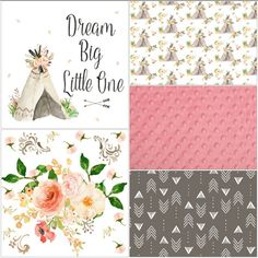 Baby Girl Crib Bedding  Dream Big Tee Pee by DesignsbyChristyS
