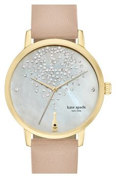 kate spade new york kate spade new york 'metro' leather strap watch, 34mm available at #Nordstrom