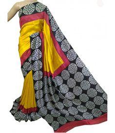 Yellow Handloom Murshidabad Silk Saree