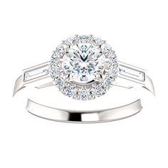 Diamond Halo Baguette Engagement Half Carat Center Certified Stone