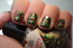 "Christmas nails #2 featuring Candy Lacquer ""Rudolph's Treats"" and Gelish ""Runway for Your Money"" by TartanHearts, via Flickr"