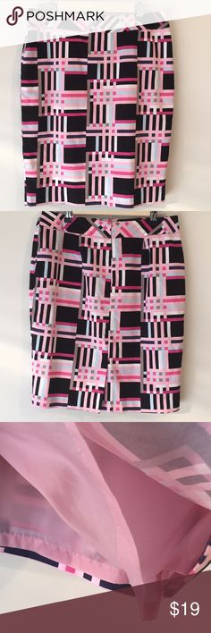 "Nine West Lined Skirt Size 10 Nine West Skirt  Size 10 Lined  98% cotton 2% elastane  No pockets Zipper back with eyelet closure  34"" waist 22 1/2"" length  Back slit 5 1/2"" Pink, blue, black, white Nine West Skirts"