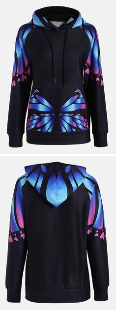 winter outfits:Butterfly Print Kangaroo Hoodie