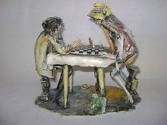ITALIAN FIGURINE CHESS PLAYER BOARD T MORETTO LO SCRICCIOLO PORCELAIN SCULPTURE | #496989716