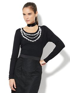 Shop 7th Avenue Design Studio - Faux-Pearl Trim Sweater. Find your perfect size online at the best price at New York & Company.