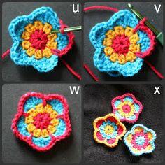 Five petalled flower step by step tutorial