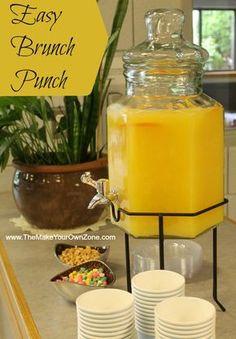 Punch Recipe for a Morning Brunch Shower - Perfect for a bridal shower or a., Easy Punch Recipe for a Morning Brunch Shower - Perfect for a bridal shower or a., Easy Punch Recipe for a Morning Brunch Shower - Perfect for a bridal shower or a. Menu Brunch, Brunch Mesa, Brunch Drinks, Yummy Drinks, Non Alcoholic Drinks For Brunch, Alcoholic Punch, Brunch Foods, Healthy Brunch, Healthy Breakfasts
