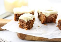 vegan almond flour pumpkin bars topped with sweet potato frosting