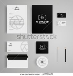 Stationery template with photography logo,camera, photo, photographer. Corporate, identity, company, branding, cd, business card, envelope, leaflet, letterhead, folder. Clean and modern style
