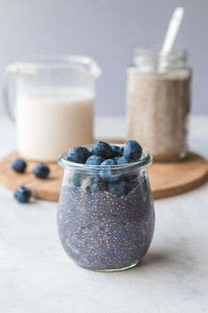 This 5 Ingredient Blueberry Chia Seed Pudding that\'s perfect for meal prep or an on the go breakfast! Vegan, Gluten Free, and Refined Sugar Free #breakfast #chiaseedpudding #blueberry #mealprep #onthego #easybreakfast #vegan #plantbased #dairyfree via frommybowl.com