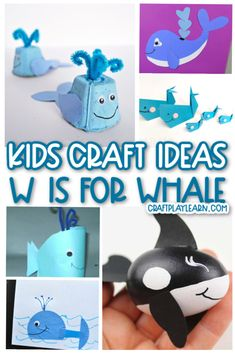 These fun Whale Craft Ideas for Kids are perfect for W is for Whale Week. These are simple ocean crafts for preschoolers that require very little materials. I'm sure you'll love making these easy whale crafts with the kids. Letter W Crafts, Alphabet Crafts, Alphabet Activities, Animal Crafts For Kids, Easy Crafts For Kids, Projects For Kids, Kid Crafts, Art Projects, Paper Crafts