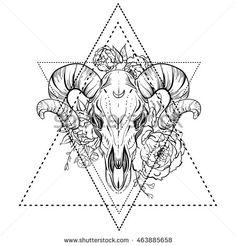 Bull skull with peony flower. Blackwork tattoo flash. Vector illustration isolated on white. Mystic symbol, dark romance, astronomy. Boho design. Print, posters, tattoo design, t-shirts and textiles.