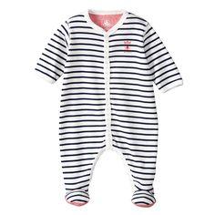 cac3ab9a97bf Pyjama en côte 1x1 rayé noir et blanc. Manches longues. Col légèrement en V