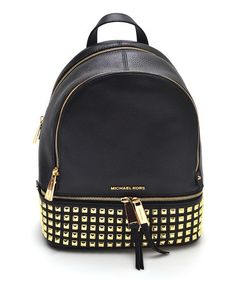 Look what I found on #zulily! Black Studded Rhea Leather Backpack #zulilyfinds