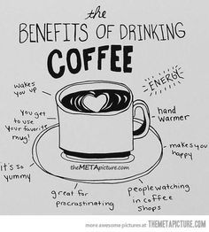 The benefits of a good cup of coffee. vida e caffe - Coffee and Life.