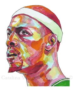 Boston Celtics Paul Pierce Seeing Red Painting by catalinaviejo, $22.00