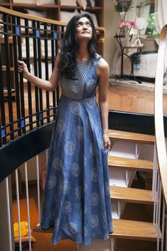Blue Printed Sleeveless Long dress in a paisley print Indian Gowns, Indian Attire, Indian Outfits, Indian Long Dress, Kurtis Indian, Kurta Designs Women, Salwar Designs, Indian Designer Outfits, Designer Dresses