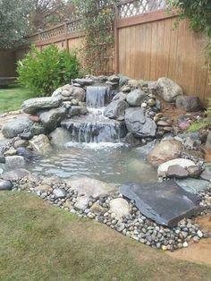 Small Backyard Ponds, Small Front Yard Landscaping, Backyard Water Feature, Small Backyard Landscaping, Landscaping Ideas, Waterfall Landscaping, Backyard Ideas, Backyard Pools, Back Yard Pond Ideas