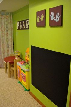 toddler room dramatic play center, great for ccs play room. different color wall, with crown molding as a border around chalk boared Home Decoracion, Toy Rooms, Kids Rooms, Dramatic Play, Kid Spaces, My New Room, Play Houses, Kids Bedroom, Bedroom Decor