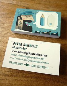 Peter Donnelly's business cards - for an illustrator/artist/designer #illustration #promotion #connect