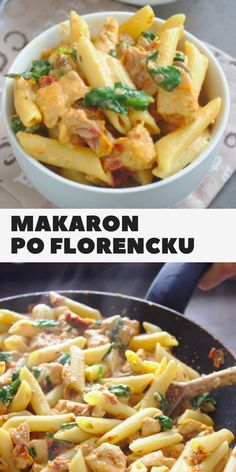 Florentine penne pasta with chicken, spinach and dried tomatoes Cooking Recipes, Healthy Recipes, Chicken Pasta, Tasty Dishes, Food Hacks, Food Inspiration, Good Food, Food And Drink, Healthy Eating