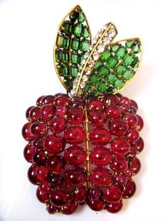 Iradj Moini Red Apple Brooch RARE Early Collectible NYC Big Apple Pin 1990 | eBay
