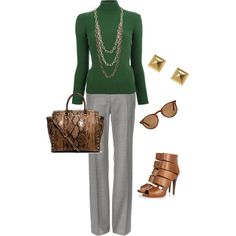 green and lighter grey, with brown tone accessories Business Casual, turtle neck and long necklace. Nice and warm