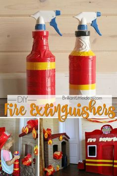 Such a cute & easy fireman craft of kids. Make your own fun with these DIY Fire Extinguishers. Fun Fireman duct tape craft for kids to make & role play. Fireman Kids, Fireman Crafts, Firefighter Crafts, Diy Fireman Costumes, Fireman Cake, Fire Safety Crafts, Fire Safety Week, Fire Truck Craft, Community Helpers Crafts