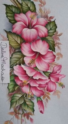 Awesome Most Popular Embroidery Patterns Ideas. Most Popular Embroidery Patterns Ideas. One Stroke Painting, Tole Painting, Fabric Painting, Painting & Drawing, Painting Walls, Art Floral, Embroidery Patterns, Hand Embroidery, Fabric Paint Designs