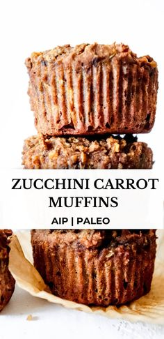 These paleo and AIP zucchini carrot muffins are divine! They are super moist, light and fluffy, and perfectly spiced with no added sugar. They're an amazing breakfast that contains both veggies and protein. #aiprecipes #paleorecipes #paleo #aip #aipdiet #autoimmunepaleo #aipprotocol #autoimmunedisease #aipbaking #paleobaking #zucchinimuffins #zucchinibread #zucchinicarrotmuffins #aipbreakfast #paleomuffins #dairyfree #breakfastmuffins #healthysnacks #healthyrecipes #healmedelicious