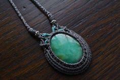 Macrame necklace Chrysoprase necklace by EarthCraftHandmade
