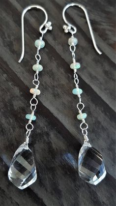 Opal And Rock Crystal Earrings Ethiopian Opal Dangle
