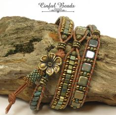 Beaded Leather Wrap Bracelet-Boho Leather Wrap-Superduo And Seed Bead Leather Bracelet-Green And Bronze LeatherA stylish Bohemian bracelet.Strategies For jewelry vintagePurple Real Leather Chain Glass Crystal Beads Charm Bracelet for Women fits Pan F Hippie Bracelets, Beaded Wrap Bracelets, Hippie Jewelry, Beaded Jewelry, Jewelry Bracelets, Handmade Jewelry, Jewellery Box, Jewellery Shops, Vintage Jewellery