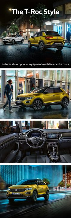 Volkswagen introduces a new model in the SUV segment: the T-Roc. This new compact-class crossover has snappy, sporty dimensions outside and great functionality inside. For maximum personalisation, the T-Roc 'Style' offers a range of design options for the interior and exterior. This includes the choice between four colours for the decorative panels, the rims and the roof of the car.