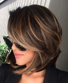 Short bob hairstyles, short volumn hairstyles,haircuts ,Brunette Bob Haircuts,Brown Balayage Bob With Side Bangs Chocolate Brown Hair Color, Brown Hair Colors, Hair Color For Tan Skin Tone, Brown Hair For Tan Skin, Hair With Color, Short Hair Colour, Chocolate Highlights, Chocolate Cherry, Girl Haircuts