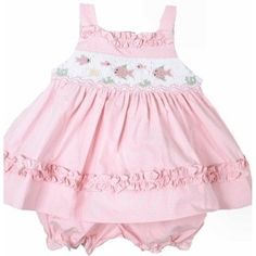 NWT Precious Pink Smocked Carriage Boutique Baby Girl Sun Dress/Bloomers Set