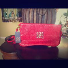 New Red clutch with straps! Gorgeous red clutch perfect for summer! Carolina Herrera inspired! Bags Clutches & Wristlets