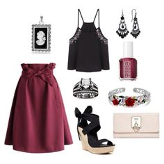 Maroon Skirt w/ Black & Pink Accents