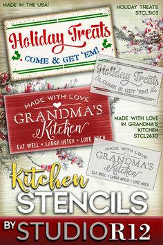 "Add warmth and love to your kitchen with StudioR12's ""Holiday Treats"" or ""Grandma's Kitchen"" stencil designs. Create a friendly accent piece for any style, country, farmhouse or traditional home. (I can smell sugar cookies and spice cakes baking!) Paint a sign for that special Grandma or the person who loves to bake, as a gift! We also offer wood surfaces and brushes! Our stencils are made in Ohio with high quality reusable mylar. Quick Shipping & 100% Guaranteed! (STCL3103 & STCL2630)"