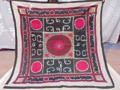 Old Wall Hanging Hand Made Embroidered Silk Vintage Suzani Antique Embroidery