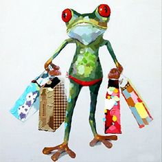 Muzagroo Art Oil Painting Modern Art Happy Shopping Frog Hand Painted on Canvas Wall Decoration Birthday/wedding Gift Frog Shopping) Large Canvas Art, Abstract Canvas, Oil Painting On Canvas, Diy Painting, Painting Gallery, Canvas Paintings, Hand Painted Canvas, Wall Canvas, Canvas Prints
