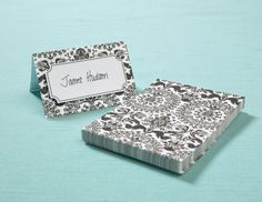Michaels.com Wedding Department: BRIDES® Black and White Damask Table Cards