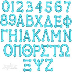 "Greek Alphabet Fonts Dots Applique and Fill. You Get 5 Sizes 1"", 2"" and 3"" 4"" and 6"" Applique"