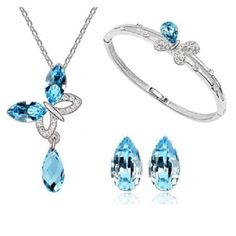 Blue Crystal Necklace&Earrings Set Bracelet Fashion Accessories Bridal Jewellery