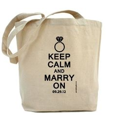 Keep Calm And Marry On custom wedding totes by PamelaFugateDesigns - free US shipping