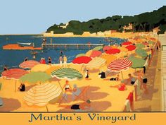 Martha's Vineyard Beaches | Martha's Vineyard Beaches Umbrellas Travel Tourism Vintage Poster Free ...
