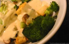 Creamy Lemon Miso Macrobiotic Bowl with rice, broccoli, and mushrooms