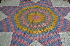 Gorgeous Antique Hand Stitched Star Quilt with Galaxy Stars
