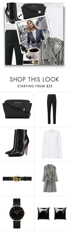"""""""Business Lady!"""" by asia-12 ❤ liked on Polyvore featuring MICHAEL Michael Kors, Yves Saint Laurent, Christian Louboutin, Anja, Gucci, WithChic, CLUSE and Witchery"""